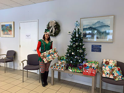 Brittany Faubert with gifts