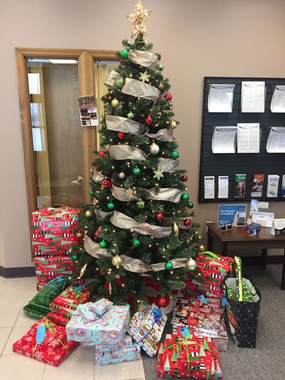 Champlain Christmas Tree with Donated Presents